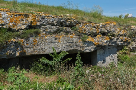 Ancient mines in the mountain Opuk. Opuksky Reserve is located on the southern coast of Kerch Peninsula.