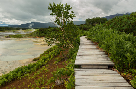 hot temper: Wooden path in the Uzon Caldera. Kronotsky Nature Reserve on Kamchatka Peninsula.