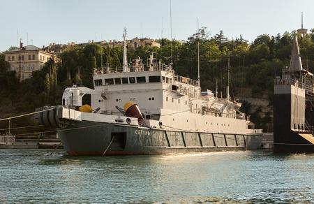 battleship: Sevastopol, Russia - June 09, 2016: Cable ship Setun in the Bay Black Sea. Editorial
