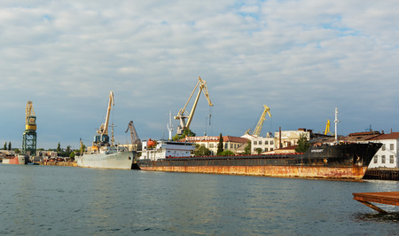 Sevastopol, Russia - June 09, 2016: Black Sea Fleet ships are on the quay of the Sevastopol Bay