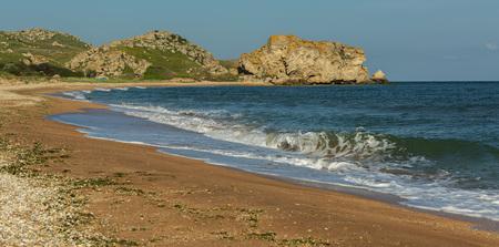 Generals beach at dawn. Karalar regional landscape park in the Crimea.