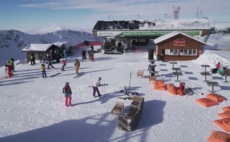 above 21: Sochi, Russia - January 21, 2017: On the top of ski resort Gorky Gorod 2200 meters above sea level