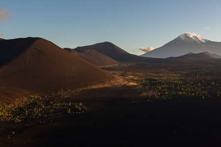 consequence: Volcanoes and Dead wood at dawn - consequence of a catastrophic release of ash during the eruption of the volcano in 1975 Tolbachik north breakthrough