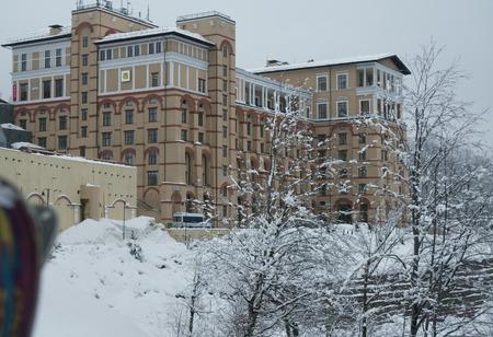 above 21: Sochi, Russia - January 21, 2017: Solis Sochi Hotel Upper Gorky Gorod - all-season resort town 960 meters above sea level in the village of Krasnaya Polyana Editorial