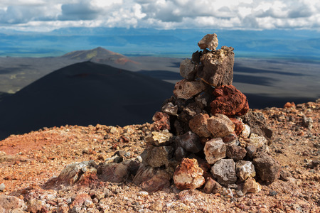 Cairn on top of the North Breakthrough Great Tolbachik Fissure Eruption 1975 Stock Photo