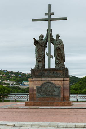 Petropavlovsk-Kamchatsky, Russia - August 14, 2016: Monument to the holy apostles Peter and Paul in the city of Petropavlovsk-Kamchatsky.