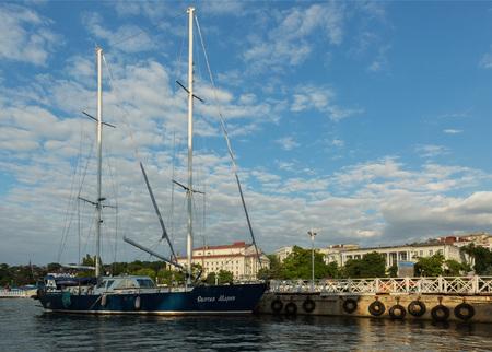 battleship: Sevastopol, Russia - June 09, 2016: Sailing Maria Motor yacht in Sevastopol