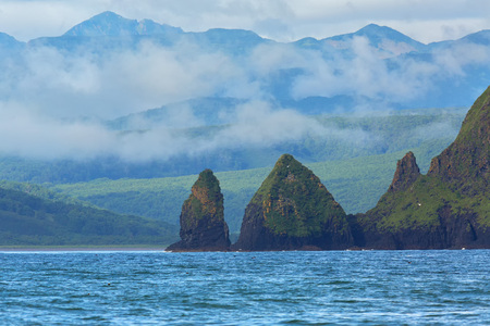 Rocks in the Avacha Bay of the Pacific Ocean. The coast of Kamchatka.