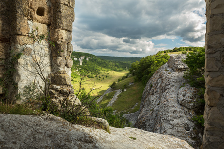 Gate on the hill of the Cave City in Cherkez-Kermen Valley, Crimea
