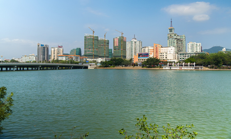 Sanya, China - April 02, 2017: Embankment of the Sanya River in Sanya City on Hainan Island