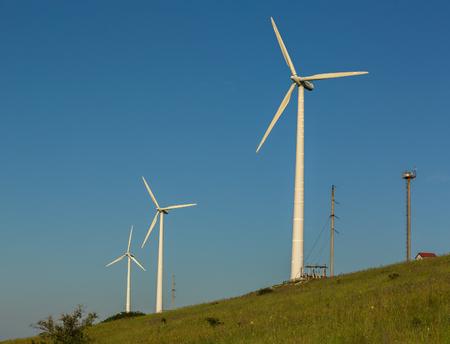 Wind power stations on the Crimean peninsula Foto de archivo