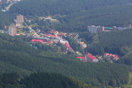 Resort of Belokurikha view from Mount Tserkovka in Altai Krai