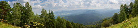 Panorama from the top of Mount Tserkovka in the summer resort of Belokurikha in Altai Krai Banco de Imagens