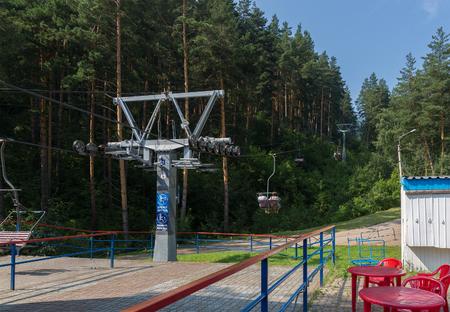 Altai, Russia - August 2, 2013: Cableway in the summer in Belokurikha in the Altai Krai