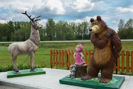 Talmenka, Russia - July 11, 2015: Childrens playground with heroes of Russian fairy tales on the territory of the Restaurant TAVERNA at Uncle Vity of the Altai