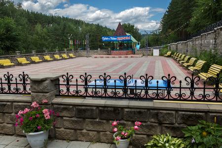 Belokurikha, Russia - July 29, 2015: Territory of childrens sanatorium Belokurikha in the Altai Krai