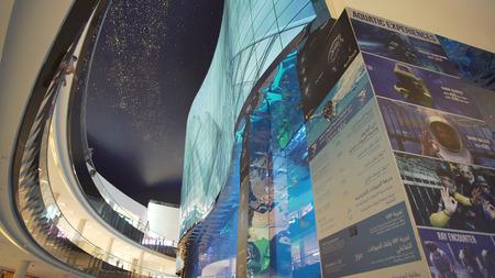 Dubai, UAE - April 09, 2018: Dubai Aquarium and Under Water Zoo in the shopping malls interior Dubai Mall. People enjoying the beautiful view
