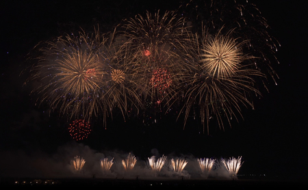 Colorful fireworks on black sky background 版權商用圖片 - 110916240