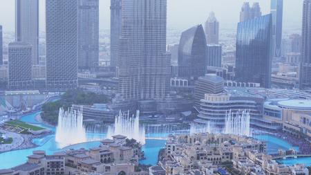 Dubai, UAE - April 07, 2018: Burj Khalifa Fountain evening view from a skyscraper height