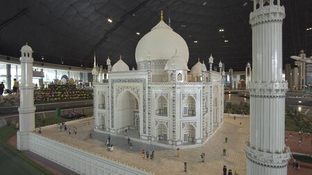 Dubai, UAE - April 01, 2018: Exhibition of mock-ups Taj Mahal made of Lego pieces in Miniland Legoland at Dubai Parks and Resorts