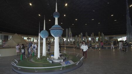 Dubai, UAE - April 01, 2018: Exhibition of mock-ups Kuwait Towers made of Lego pieces in Miniland Legoland at Dubai Parks and Resorts Redactioneel