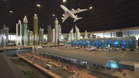 Dubai, UAE - April 01, 2018: Exhibition of mock-ups Airport of Dubai made of Lego pieces in Miniland Legoland at Dubai Parks and Resorts