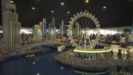 Dubai, UAE - April 01, 2018: Exhibition of mock-ups Dubai Marina made of Lego pieces in Miniland Legoland at Dubai Parks and Resorts Redactioneel
