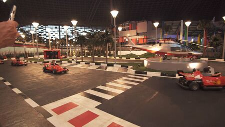 Abu Dhabi, UAE - April 04, 2018: Junior GP Driving School in Ferrari World Abu Dhabi