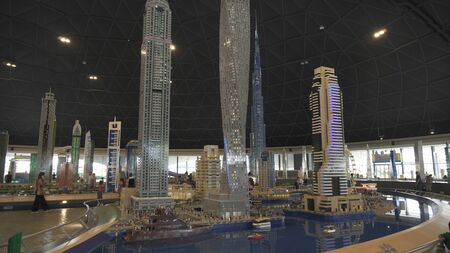 Dubai, UAE - April 01, 2018: Exhibition of mock-ups Dubai Marina made of Lego pieces in Miniland Legoland at Dubai Parks and Resorts 에디토리얼
