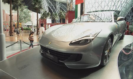 Abu Dhabi, UAE - April 04, 2018: Exhibition car in a theme park Ferrari World Abu Dhabi