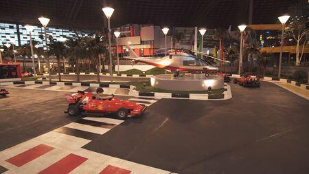 Abu Dhabi, UAE - April 04, 2018: Junior GP Driving School in Ferrari World Abu Dhabi