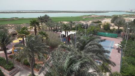 Abu Dhabi, UAE - April 03, 2018: Area of hotel Park Inn by Radisson Abu Dhabi Yas Island