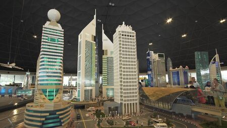 Dubai, UAE - April 01, 2018: Exhibition of mock-ups Dubai skyscrapers made of Lego pieces in Miniland Legoland at Dubai Parks and Resorts