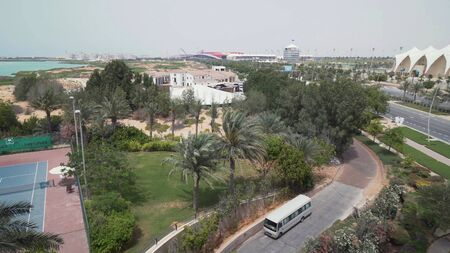 Abu Dhabi, UAE - April 03, 2018: Ferrari World Abu Dhabi and Yas Marina Circuit on Yas Island in Abu Dhabi