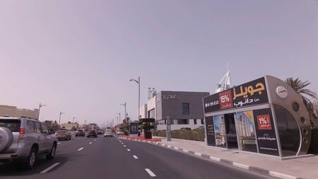 Dubai, UAE - April 04, 2018: Car trip on elite area Jumeirah in Dubai