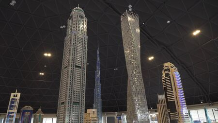 Dubai, UAE - April 01, 2018: Exhibition of mock-ups Dubai skyscrapers made of Lego pieces in Miniland Legoland at Dubai Parks and Resorts