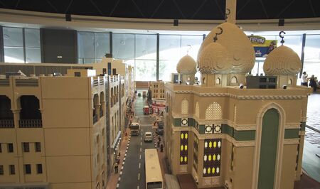 Dubai, UAE - April 01, 2018: Exhibition of mock-ups Deira made of Lego pieces in Miniland Legoland at Dubai Parks and Resorts 에디토리얼