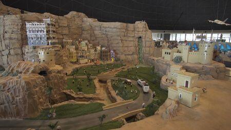Dubai, UAE - April 01, 2018: Exhibition of mock-ups Petra made of Lego pieces in Miniland Legoland at Dubai Parks and Resorts