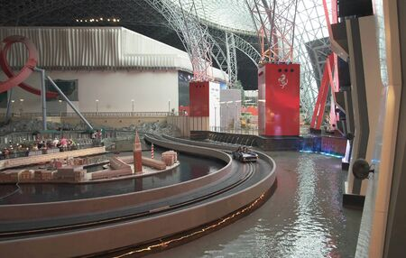 Abu Dhabi, UAE - April 04, 2018: Attraction RC Challenge in the theme park Ferrari World Abu Dhabi 에디토리얼