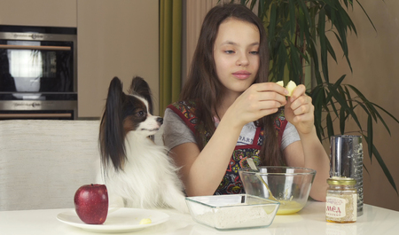 Teen girl and dog Papillon prepare cookies, knead the dough