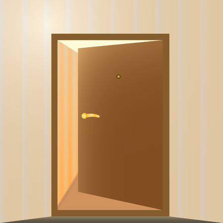 input output: Brown door open to the room Illustration