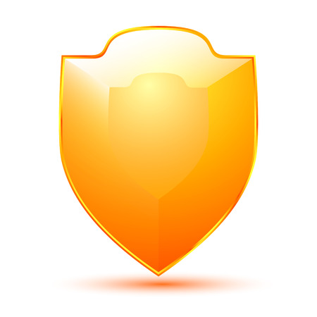 Golden Shield Icon isolated on a white