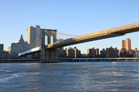 The Brooklyn bridge wuith  the sunset light photo