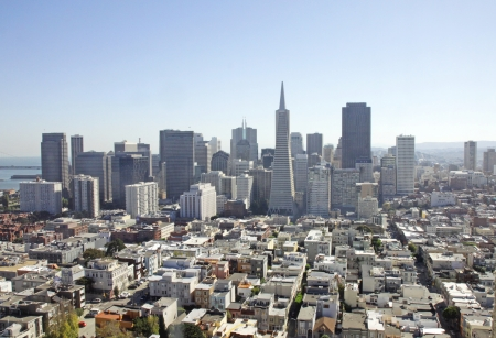 oakland: An aerial view of the financial District in San Francisco, USA
