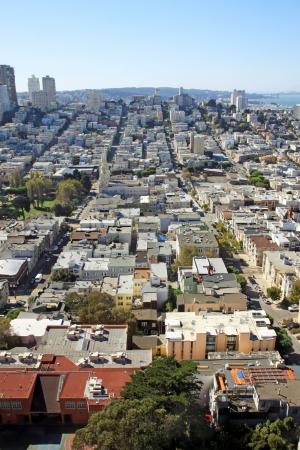 An aerial view of San Francisco in a sunny day photo