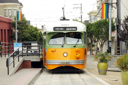 castro: A vintage cable car at the stop in San francisco, Usa
