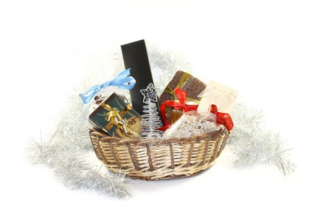 A basket with a lot of christmas gift photo