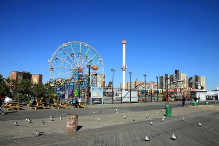 coney: BROOKLYN, NEW YORK - OCTOBER 10   Coney Island Boardwalk before damage by Hurricane Sandy  at Coney Island, NY  The boardwalk, built in 1923, stretches for 2 51 miles