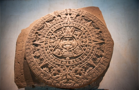 Aztec Sun Calendar  The Aztec calendar stone is a large monolithic sculpture that was excavated in the Zocalo, Mexico City Stock Photo