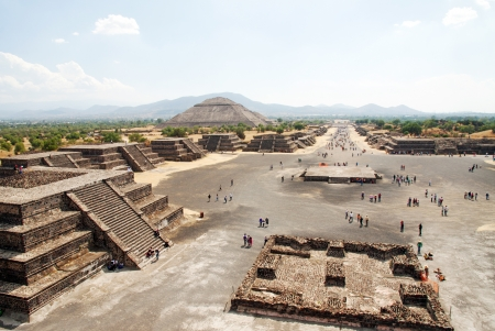 View of the Avenue of the Dead and the Pyramid of the Sun, from the Pyramid of the Moon at the Teotihuacan in Mexico photo